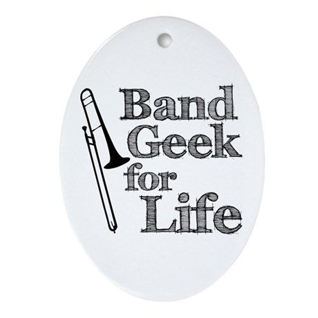 Trombone Band Geek Ornament (Oval)