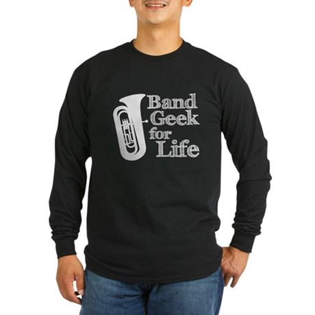 Tuba Band Geek Long Sleeve Dark T-Shirt