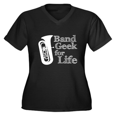 Tuba Band Geek Women's Plus Size V-Neck Dark T-Shi