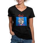 The Cherokee Wolf Women's V-Neck Dark T-Shirt