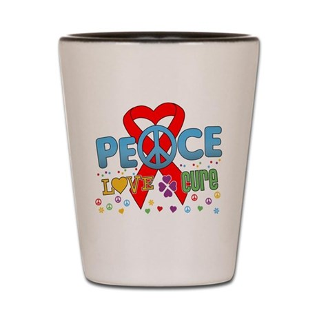 Blood Cancer PeaceLoveCure Shot Glass