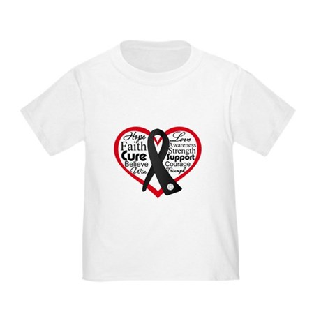 Heart Ribbon Melanoma Toddler T-Shirt