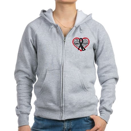 Heart Ribbon Melanoma Women's Zip Hoodie