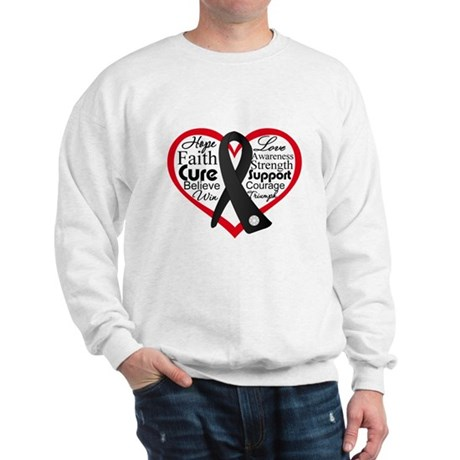 Heart Ribbon Melanoma Sweatshirt