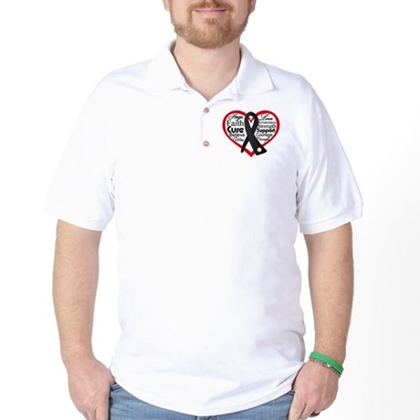 Heart Ribbon Melanoma Golf Shirt