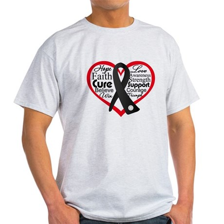 Heart Ribbon Melanoma Light T-Shirt