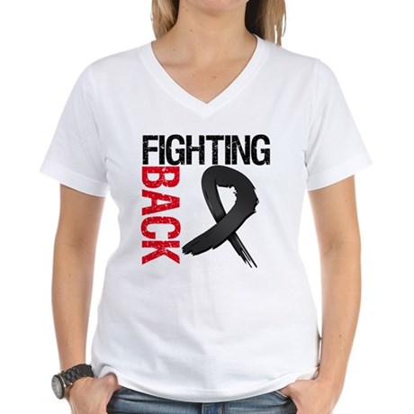 Fighting Back Melanoma Women's V-Neck T-Shirt