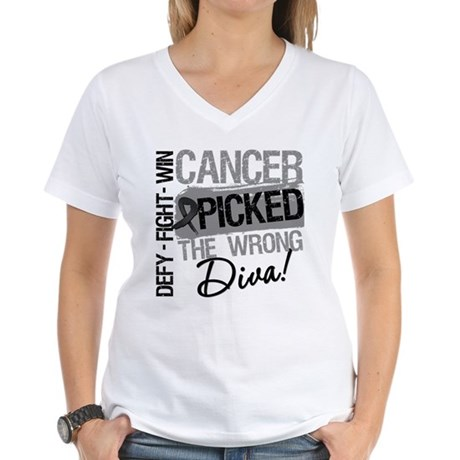 Cancer Wrong Diva Melanoma Women's V-Neck T-Shirt