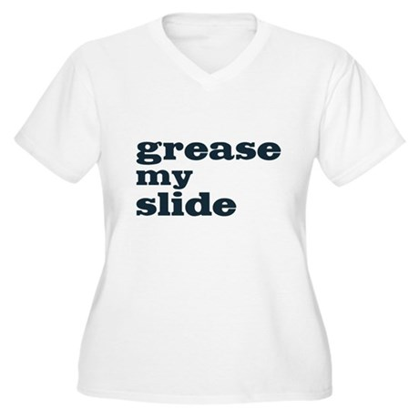 Grease My Slide Women's Plus Size V-Neck T-Shirt