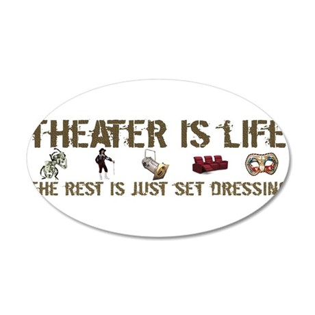 Theater is Life 38.5 x 24.5 Oval Wall Peel