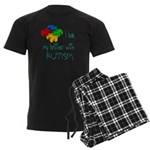 I love my brother with autism Men's Dark Pajamas