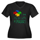 Asperger's Son Women's Plus Size V-Neck Dark T-Shi