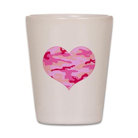 Pink Camo Heart Shot Glass