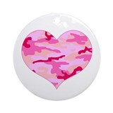 Pink Camo Heart Ornament (Round)