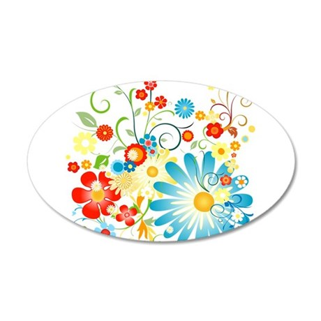 Floral explosion of color 22x14 Oval Wall Peel