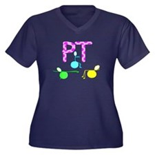 Physical Therapy Women's Plus Size V-Neck Dark T-S