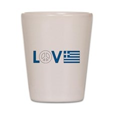Love Peace Greece Shot Glass