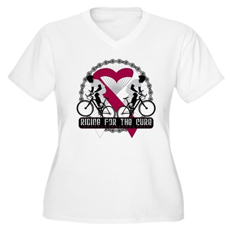 Head Neck Cancer Ride Cure Women's Plus Size V-Nec