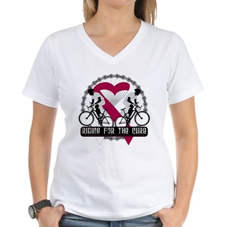 Head Neck Cancer Ride Cure Women's V-Neck T-Shirt