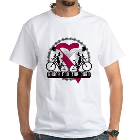 Head Neck Cancer Ride Cure White T-Shirt