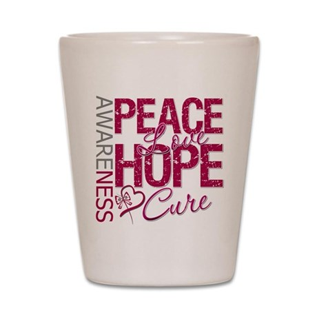 HeadNeckCancer PeaceLoveCure Shot Glass