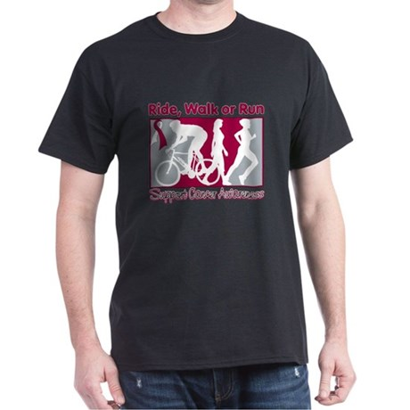 Head Neck Cancer RideWalkRun Dark T-Shirt