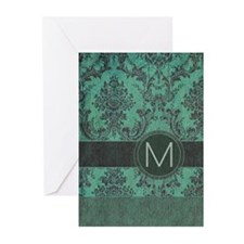 Vintage Damask Monogram Greeting Cards (Pk of 10)