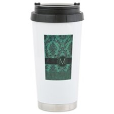 Vintage Damask Monogram Ceramic Travel Mug