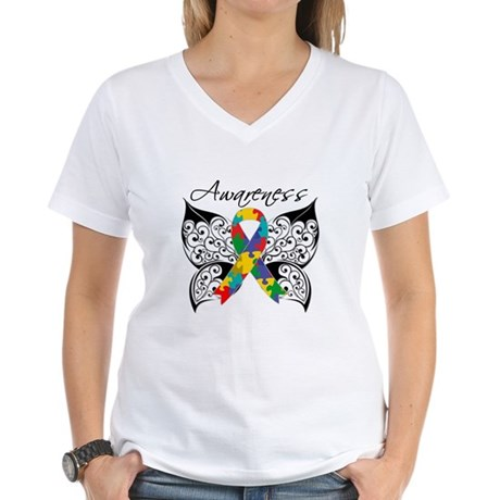 Awareness Butterfly Autism Women's V-Neck T-Shirt