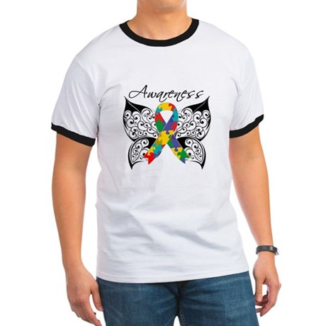 Awareness Butterfly Autism Ringer T