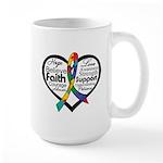 Heart Ribbon - Autism Large Mug