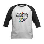 Heart Ribbon - Autism Kids Baseball Jersey