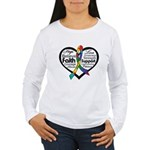 Heart Ribbon - Autism Women's Long Sleeve T-Shirt