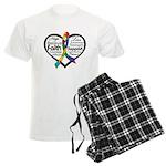 Heart Ribbon - Autism Men's Light Pajamas