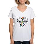 Heart Ribbon - Autism Women's V-Neck T-Shirt