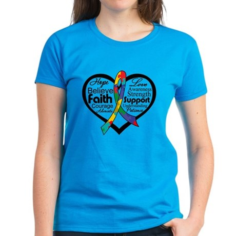 Heart Ribbon - Autism Women's Dark T-Shirt