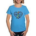 Heart Ribbon - Autism Women's Dark T-Shirt