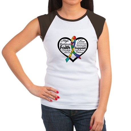Heart Ribbon - Autism Women's Cap Sleeve T-Shirt