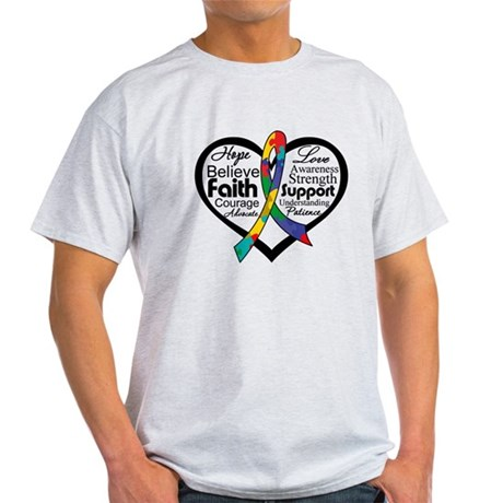 Heart Ribbon - Autism Light T-Shirt