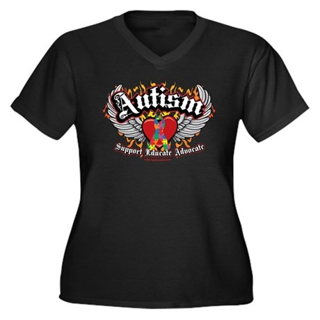 Autism Wings Women's Plus Size V-Neck Dark T-Shirt