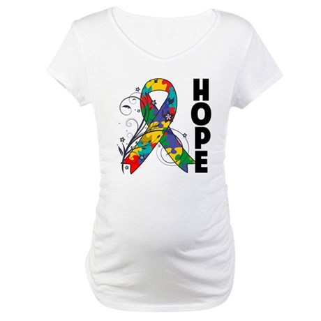 Hope Floral Ribbon Autism Maternity T-Shirt