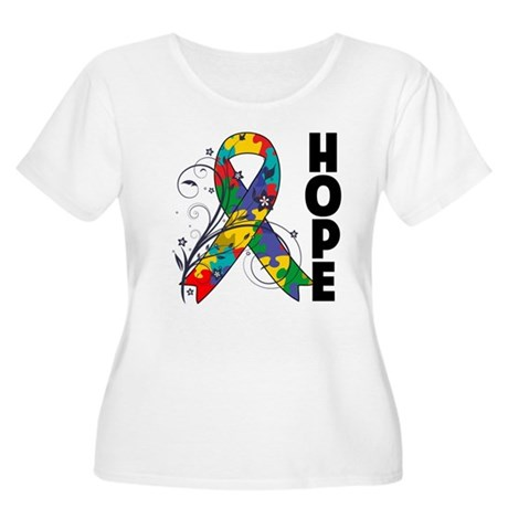 Hope Floral Ribbon Autism Women's Plus Size Scoop
