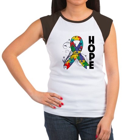 Hope Floral Ribbon Autism Women's Cap Sleeve T-Shi