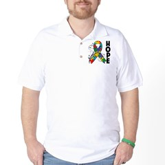 Hope Floral Ribbon Autism Golf Shirt