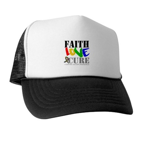 Faith Love Cure Autism Trucker Hat