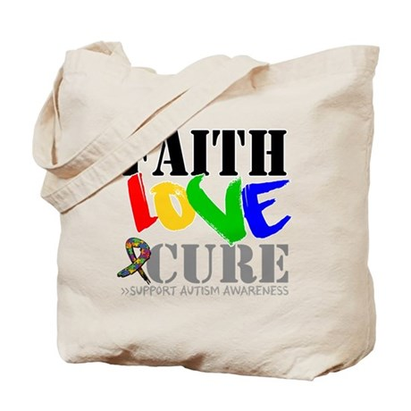 Faith Love Cure Autism Tote Bag