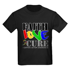 Faith Love Cure Autism Kids Dark T-Shirt