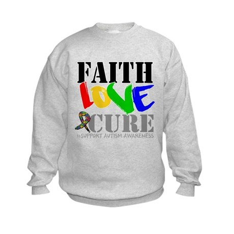 Faith Love Cure Autism Kids Sweatshirt