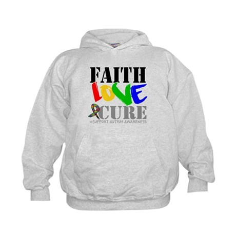 Faith Love Cure Autism Kids Hoodie