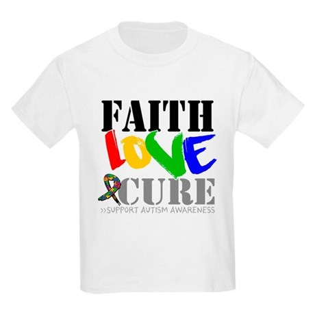 Faith Love Cure Autism Kids Light T-Shirt